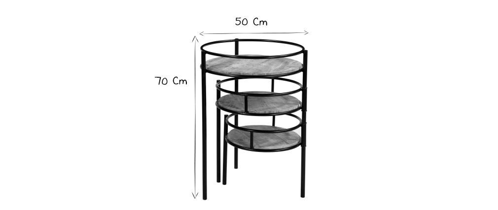 Modularer Pflanzenständer aus Metall und Mangoholz THREE