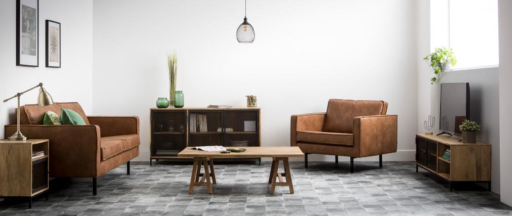 Nachttisch aus Mangoholz und Metall perforiert RACK