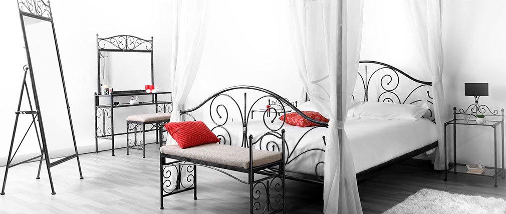 Nachttisch im Barockstil VICTORIA Metall Schwarz