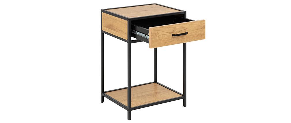 Nachttisch im Industrial Style Holz und schwarzes Metall TRESCA