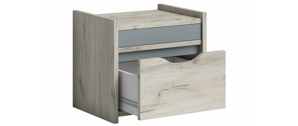 Nachttisch mit Schublade Esche Weiß und Grau TOM
