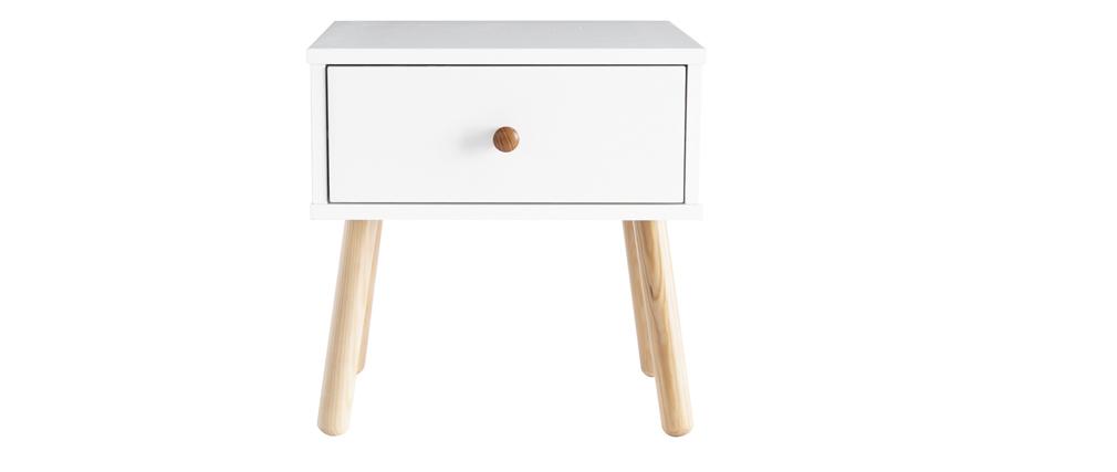 Nachttisch skandinavisches Weiß und Holz NEA