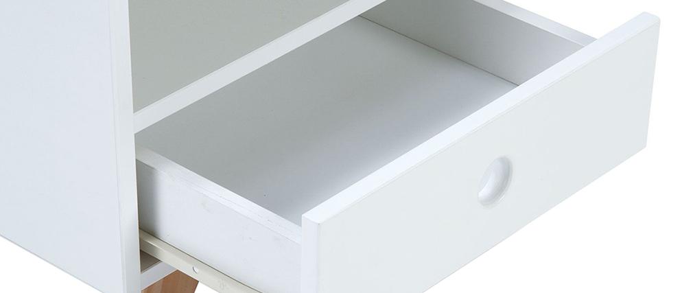 Nachttisch skandinavisches Weiß und Kiefer PITI