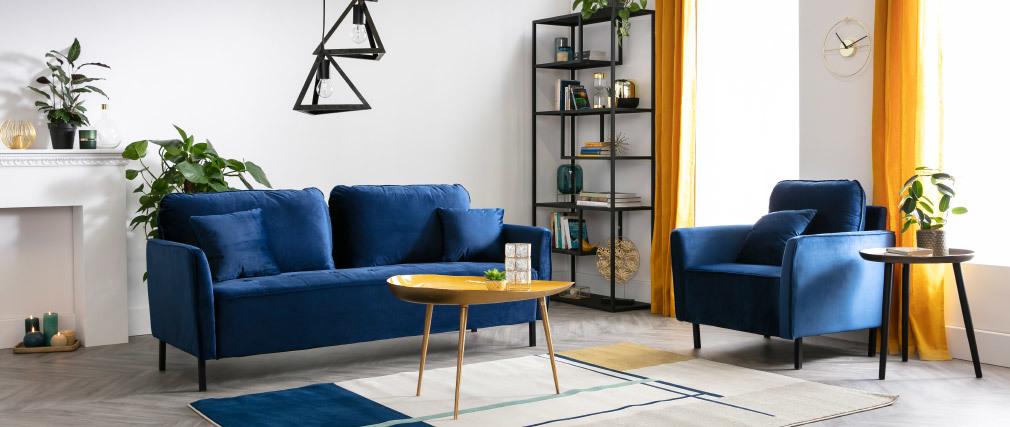 Niedriger Design-Tisch aus blaugrün lackiertem Stahl DROP