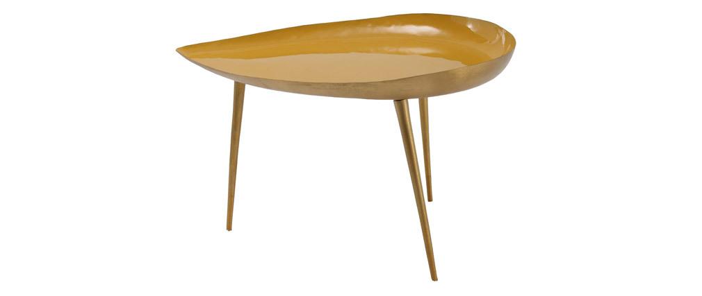 Niedriger Design-Tisch aus gelb lackiertem Stahl DROP