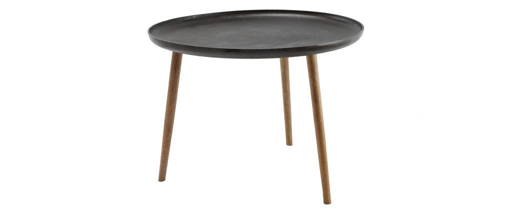 Niedriger Design-Tisch aus Metall und Füßen aus Holz LUMI