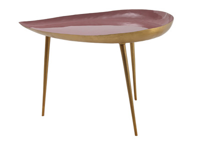 Niedriger Design-Tisch aus rosa lackiertem Stahl DROP