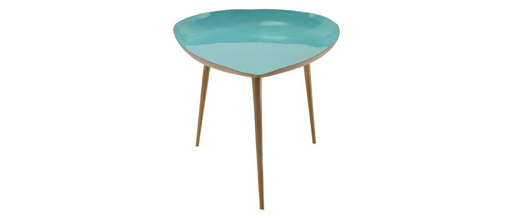 Niedriger Design-Tisch aus wassergrün lackiertem Stahl DROP