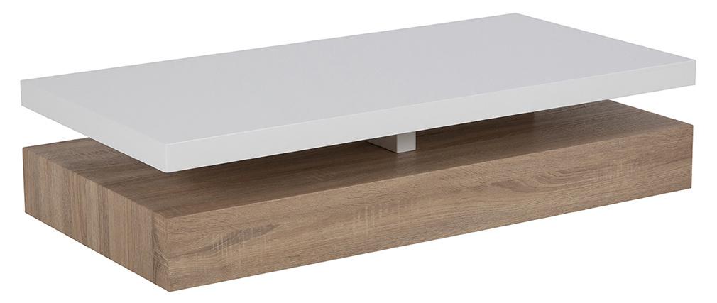 Niedriger Design-Tisch glänzend-weiß lackiert mit Holz SONOMA