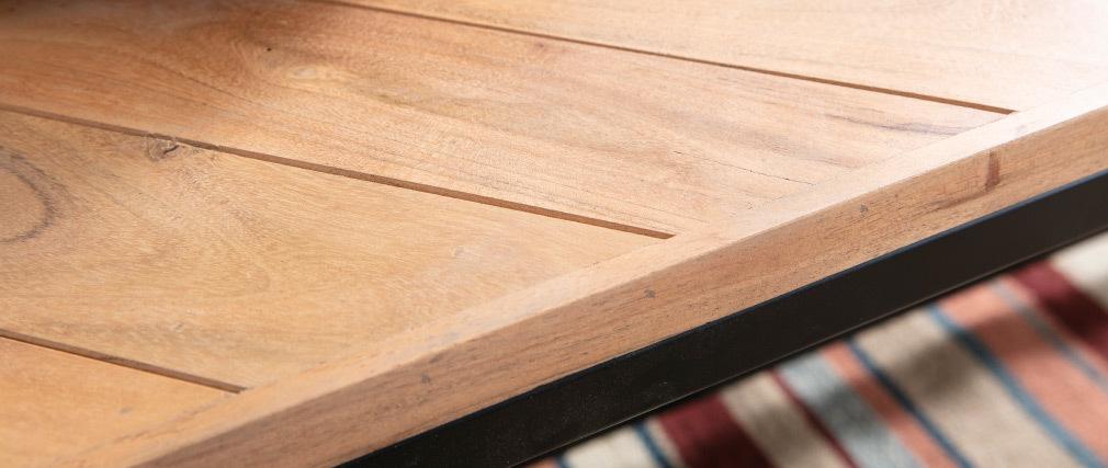 Niedriger Tisch modern aus Akazienholz und schwarzem Metall STICK
