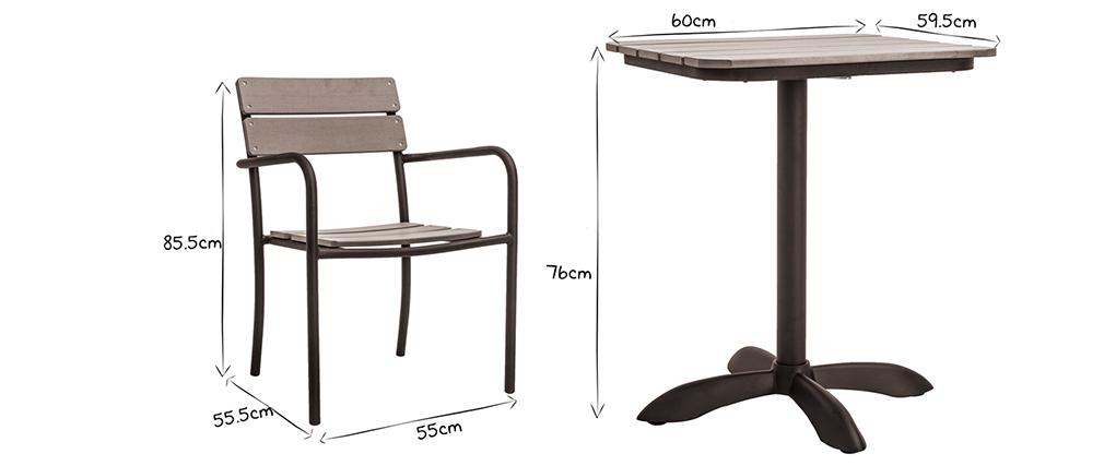 Outdoor Esszimmer Mit Bistrotisch Und 2 Stühlen Schwarz