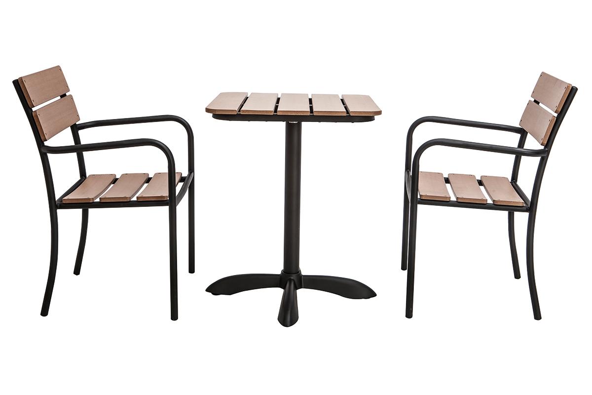 Bistrotisch Mit Stühlen Outdoor.Outdoor Esszimmer Mit Bistrotisch Und 2 Stühlen Schwarz Und
