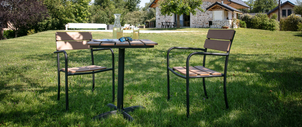 Outdoor-Esszimmer mit Bistrotisch und 2 Stühlen Schwarz und Holz PUB
