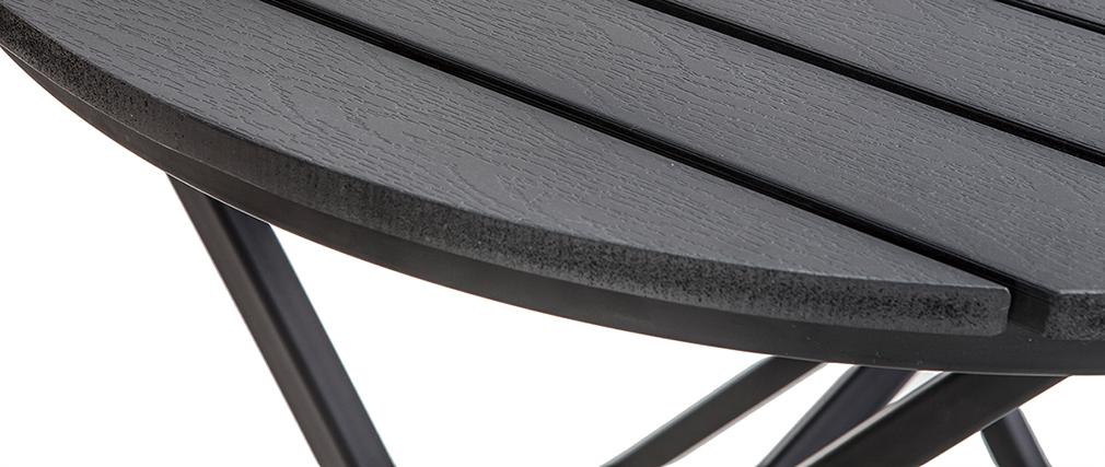 Outdoor-Esszimmer mit Klapptisch und Stühlen aus Holz und schwarzem Metall BERLINER