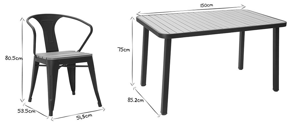 Outdoor-Esszimmer mit Tisch und 4 Stühlen aus Holz und schwarzem Metall BERLINER