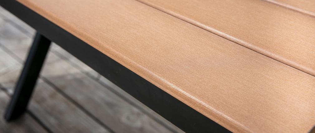 Outdoor-Esszimmer mit Tisch und 4 Stühlen Schwarz und Holz VIAGGIO