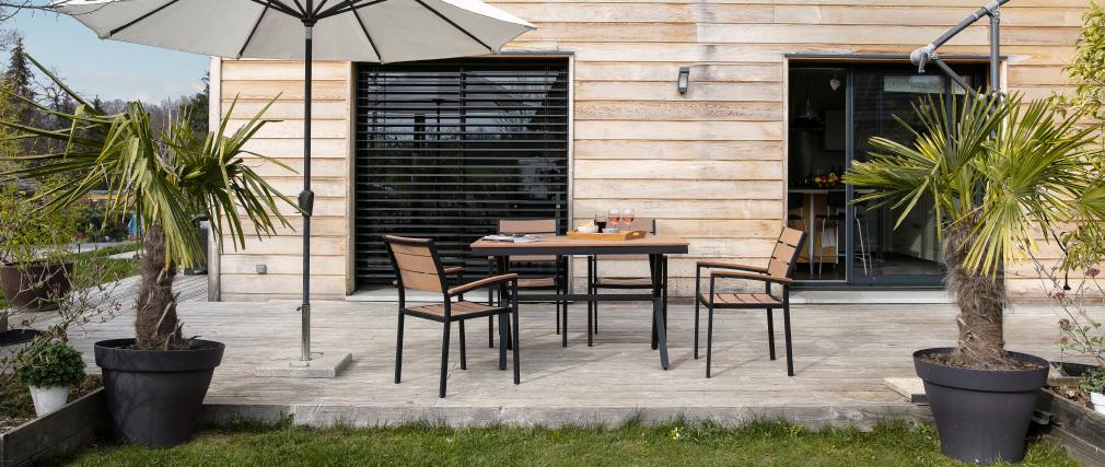 Outdoor-Esszimmer mit Tisch und 4 Stühlen Weiß und Grau VIAGGIO