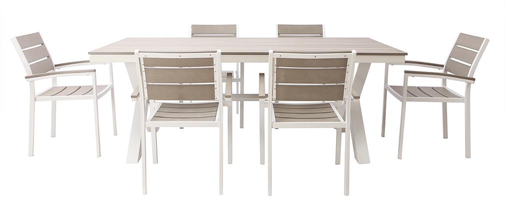 Outdoor-Esszimmer mit Tisch und 6 Stühlen aus weißem Metall und grauem Holz VIAGGIO