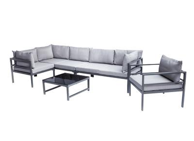 Outdoor-Wohnzimmer aus Metall mit Tisch, Ecksofa und Sessel SALENTO