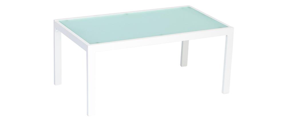 Outdoor-Wohnzimmer aus weißem Metall mit Tisch, Bank und 2 Sesseln CALA