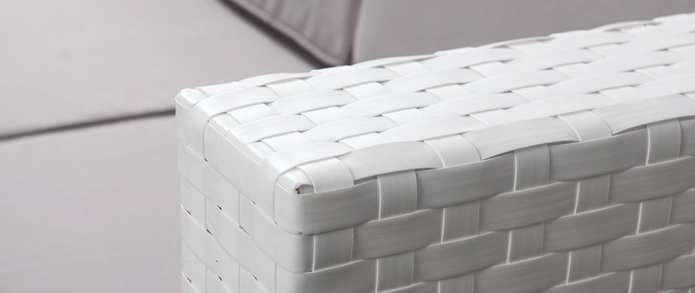 Outdoor-Wohnzimmer komplett aus Harzgeflecht HAWAI Weiß - Miliboo