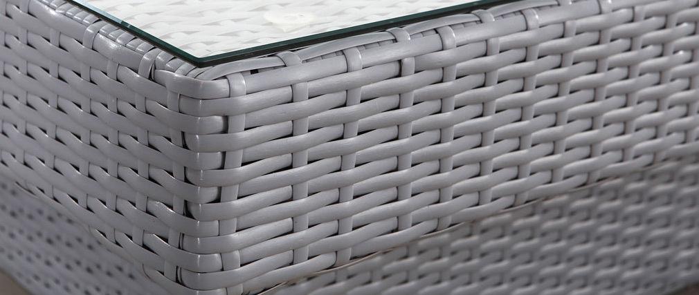 Outdoor-Wohnzimmer komplett aus Harzgeflecht MAURICE Grau