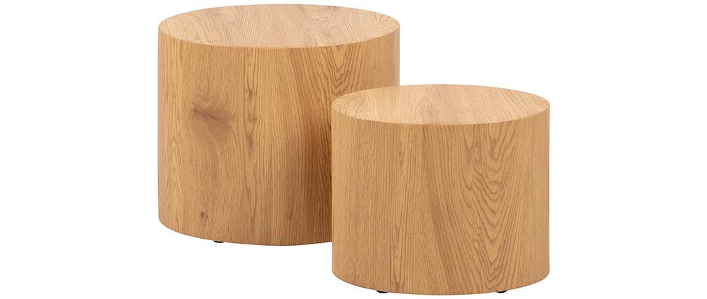 Ovale Couchtische aus hellem Holz (2er-Set) HOLZ