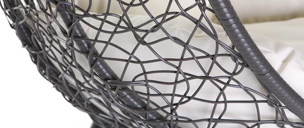 Ovaler Hängesessel, grauer Kunststoff MOJO