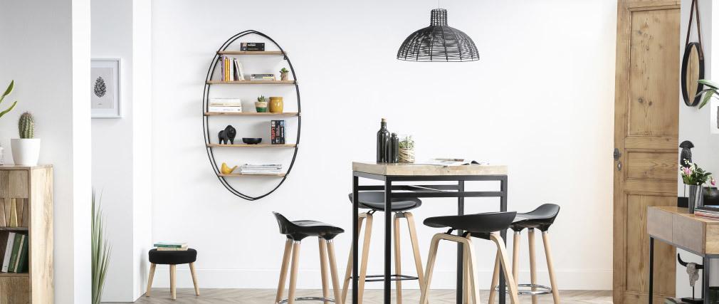 Ovales Wandregal aus massivem Akazienholz und Metall H130 cm HANG