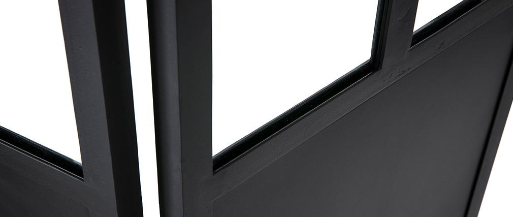 Paravent 4 Flügel aus Metall Schwarz und Glas RACK