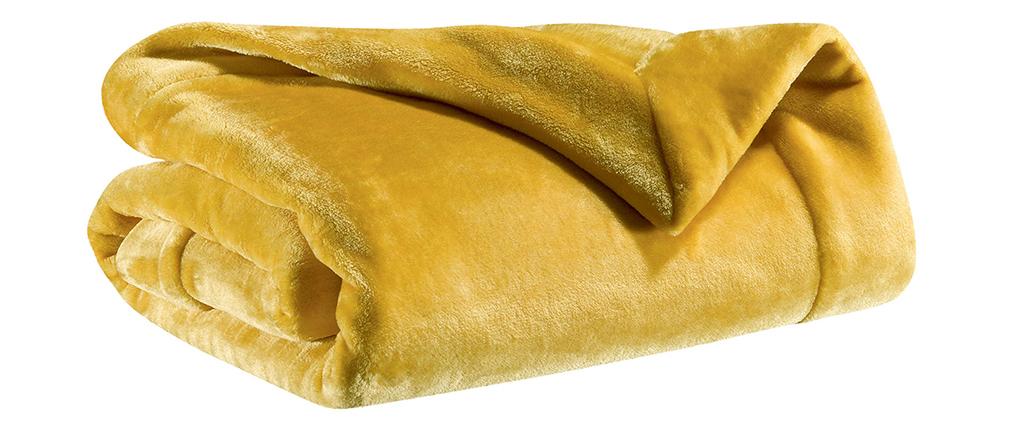 Plaid aus Polyester Currygelb 150 x 200 cm FERO