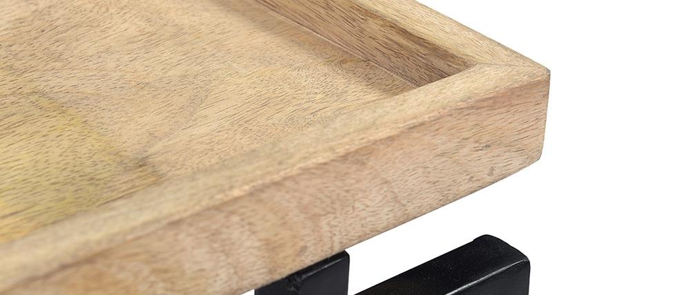 Quadratischer Couchtisch aus Mangoholz und Metall Schwarz L55 cm FRAME