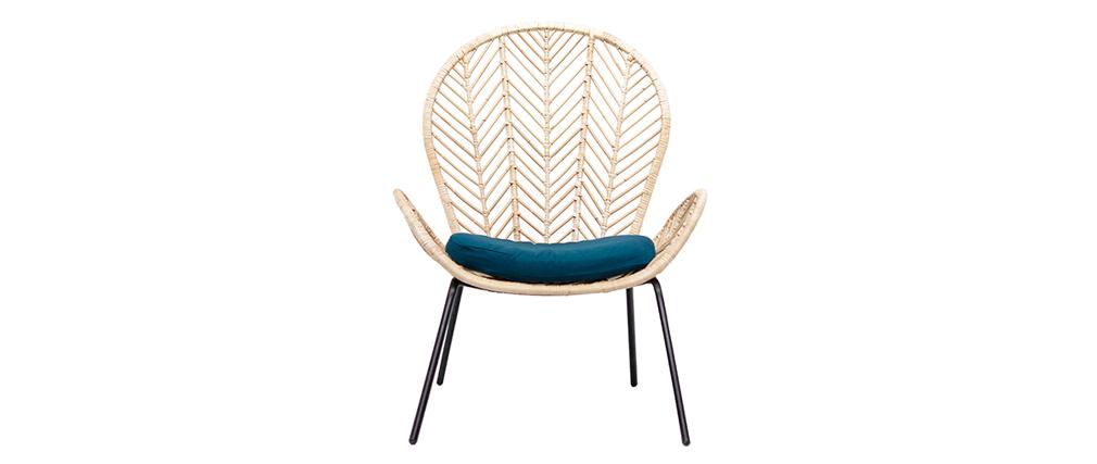 Rattan-Sessel mit petrolblauem Stoff PEACOCK