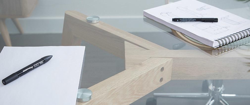 Rechteckiger Design-Esstisch DAVOS 200 cm Glasplatte