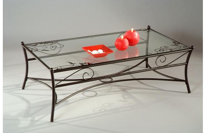 rechteckiger salontisch couchtisch florence aus stahl und geh rtetem glas mit siebdruck miliboo. Black Bedroom Furniture Sets. Home Design Ideas