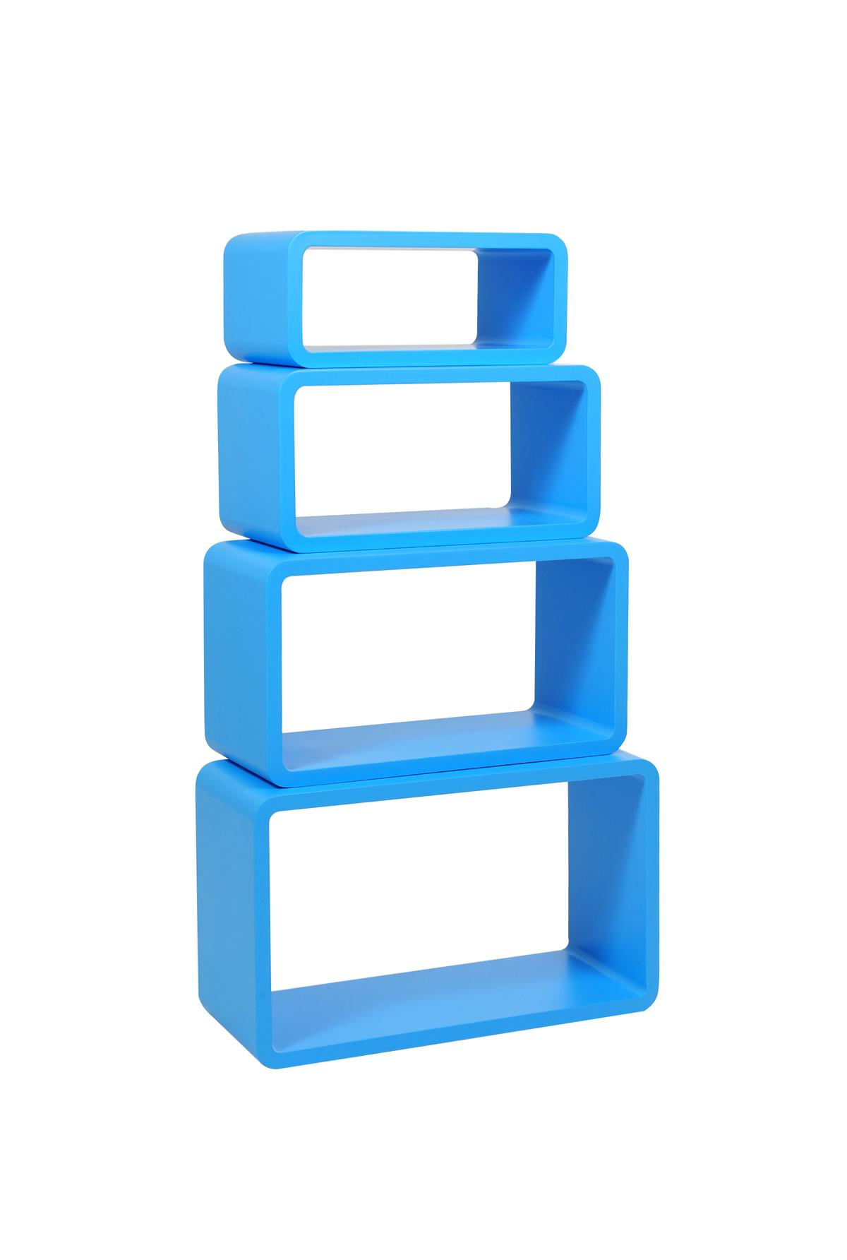 rechteckiges regal pop blau satz von 4 miliboo. Black Bedroom Furniture Sets. Home Design Ideas