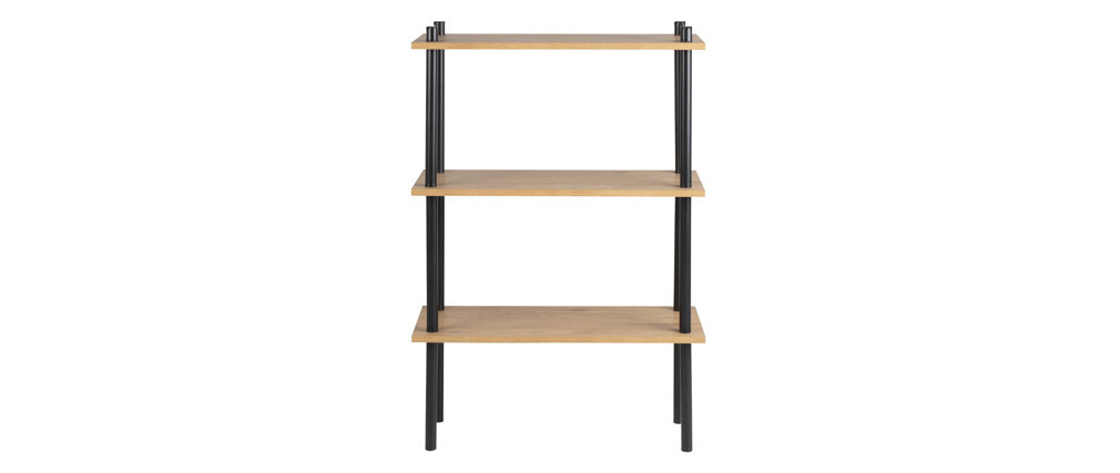 Regal aus schwarzem Metall und hellem Holz STAIR