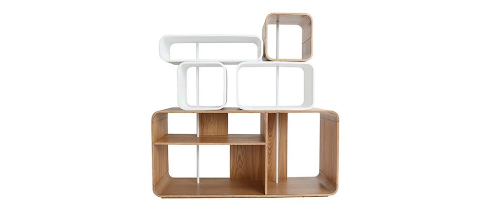 Regal modulierbar helles Holz und Weiß BRICK