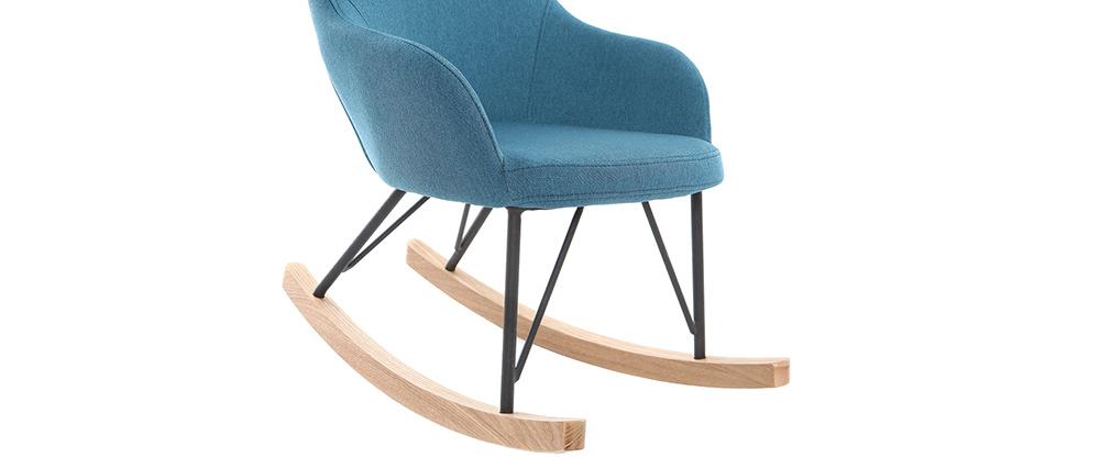 Relax-Sessel - Baby-Schaukelstuhl Stoff Blau Füße Metall und Esche JHENE
