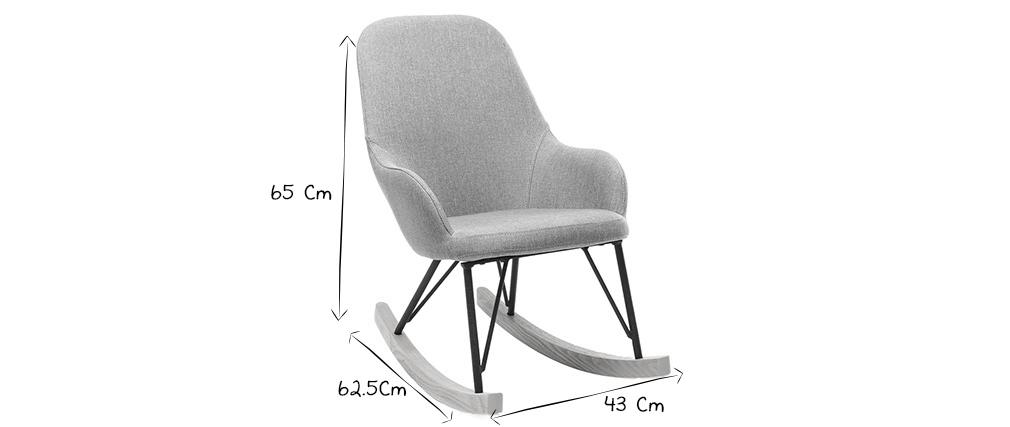 Relax-Sessel - Baby-Schaukelstuhl Stoff Grau Füße Metall und Esche JHENE