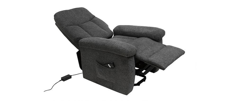 Relax-Sessel elektrisch neigbar aus grauem Stoff MOVIE