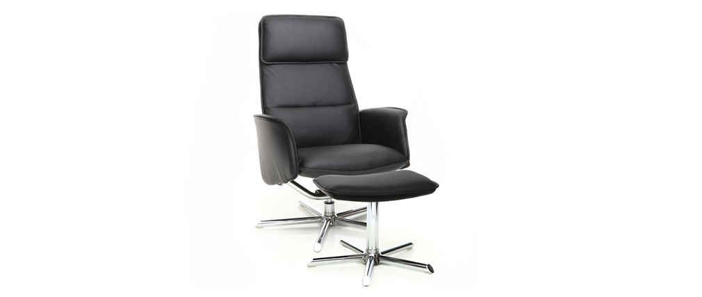 relax sessel manuell verstellbar und fu ablage schwarz berry miliboo. Black Bedroom Furniture Sets. Home Design Ideas