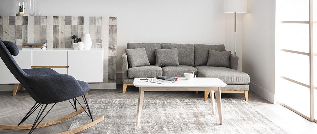 Relax-Sessel - Schaukelstuhl Stoff Grün Füße Metall und Esche JHENE