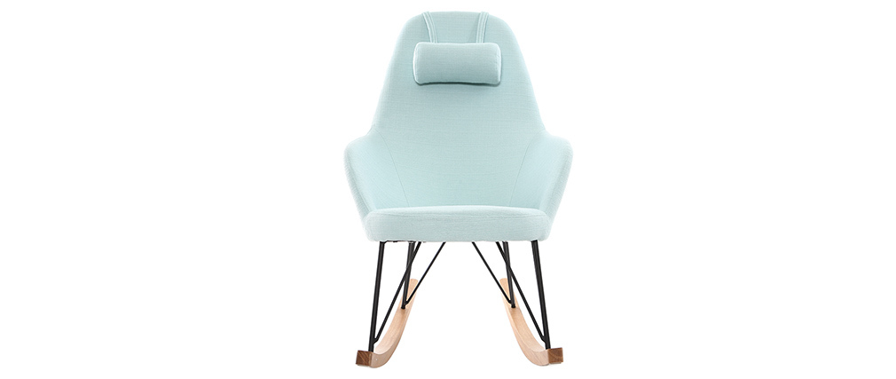 Relax-Sessel - Schaukelstuhl Stoff Meeresgrün Füße Metall und Esche JHENE