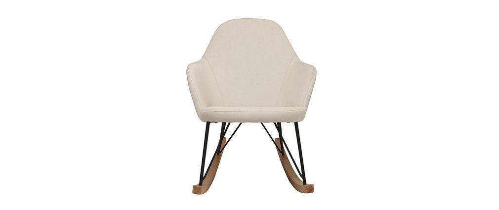 Relax-Sessel - Schaukelstuhl Stoff naturfarben Füße Metall und Esche JHENE