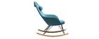 Relax-Sessel - Schaukelstuhl Stoff Petrolblau Füße Metall und Esche JHENE