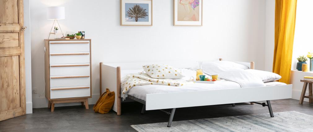 Rollbett weiß und Holz 90 cm SIAMOI