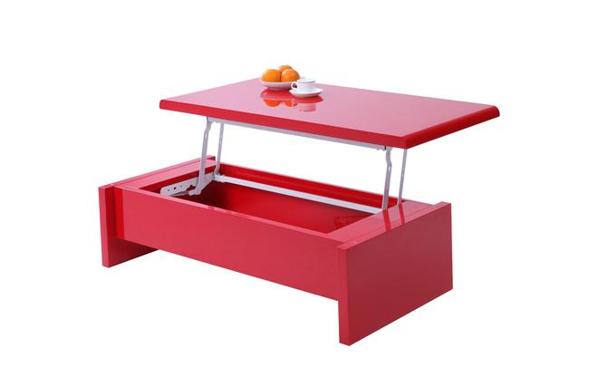 Rot lackierter hochklappbarer designer couchtisch lola - Couchtisch rot ...