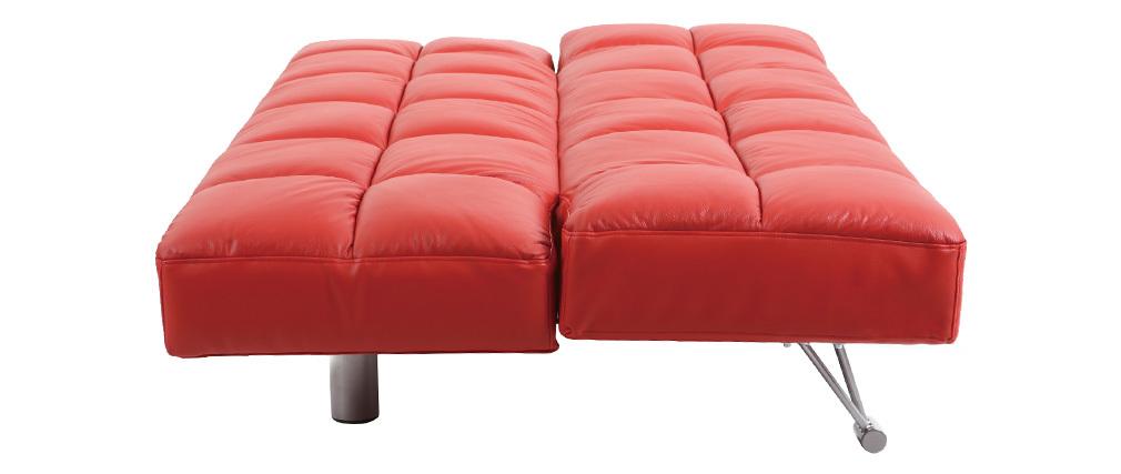 Rotes verstellbares sofa schlafsofa manhattan aus leder for Rotes schlafsofa