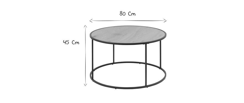 Runder Couchtisch aus Holz und schwarzem Metall D80 cm TRESCA